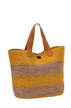 Bigoa Yellow/Natural Crochet Straw Bag By Le Voyage en Panier