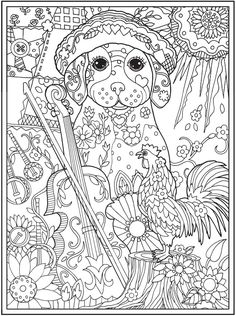 Adult Dog Coloring Pages Best Of Dazzling Dogs Coloring Book Artwork by Marjorie Sarnat Dover Coloring Pages, Dog Coloring Page, Free Adult Coloring Pages, Colouring Pics, Doodle Coloring, Animal Coloring Pages, Printable Coloring Pages, Coloring Books, Drawings
