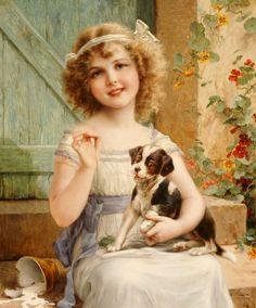 """""""Waiting for The Vet"""" von Emile Vernon (geboren im Jahr 1872, gestorben im Jahr 1919), französischer Maler."""