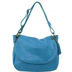 Light Blue SOFT LEATHER SHOULDER BAG WITH TASSEL DETAIL - TL141110. Made in Italy, Traditional tanning. This beautiful bag is available in different colours. Fantastic leather -