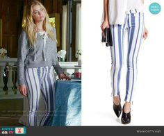 Hanna's striped jeans and grey lace-up sweater on Pretty Little Liars.  Outfit Details: https://wornontv.net/69542/ #PLL