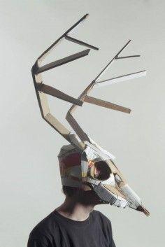 Cardboard Animal Masks - The Jozef Mrva Masks Are Eerie and Creatively Crafted… Cardboard Costume, Cardboard Mask, Cardboard Animals, Cardboard Sculpture, Paper Mask, Animal Masks, Mask Making, Art Plastique, Fantasy Creatures
