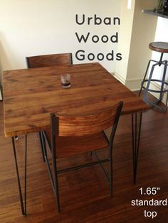 Small reclaimed wood table with hairpin legs for by UrbanWoodGoods, $695.00