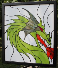 """Fire Breathing Dragon - Stained Glass Panel - measures 20""""x24"""" Stained Glass Panels - The Creative Raven"""