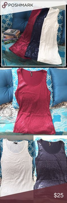 💎New Listing💎 Maurices-3-Sequined Tank Tops 🌼EUC! Three beautiful sequined tanks all in perfect condition. All are size medium and the colors are red, white, and blue.🌼💸Free Shipping on bundles with three or more items. After you bundle your three items, message me, and I will lower three of your items by $2 each to equal the $6 shipping.💸 Maurices Tops Tank Tops