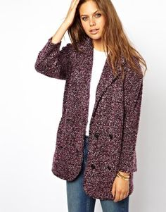 Coatigan by ASOS Collection Made from an unlined textured boucle knit Notched lapels Double breasted button placket