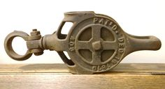 Vintage Farm Pulley industrial pulley barn pulley by thewildburro, $48.00