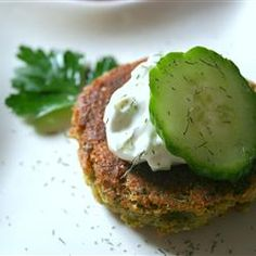 Falafel and Cucumber Sauce - instead of frying, can also bake at 400 degrees on a greased sheet. Spray lightly top of falafel, bake 10 minutes, flip and spray again, then another 10 minutes. Then broil each side for 2 minutes. Falafels, Vegetarian Recipes, Cooking Recipes, Healthy Recipes, Vegetarian Lunch, Cooking Videos, Falafel Waffle, Falafel Burgers, Veggie Burgers