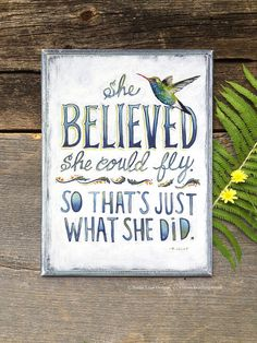 Hummingbird Wood Sign Confidence Quote on Wood by bonnielecat