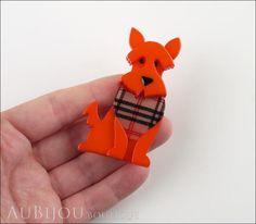 Erstwilder Dog Brooch Pin Scooter the Scottie Orange Model