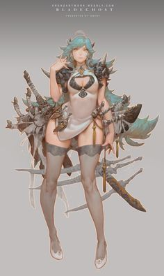 Anime picture with original krenz long hair single tall image looking at viewer light erotic breasts simple background blue hair yellow eyes standing horn (horns) grey girl thighhighs dress weapon armor bandage (bandages) Female Character Design, Character Design Inspiration, Game Character, Character Concept, Concept Art, Fantasy Anime, Fantasy Girl, Fantasy Characters, Female Characters