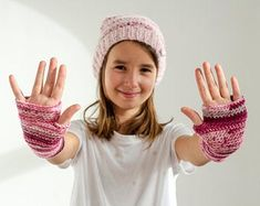 Pink variations set of hand knitted cap and fingerless mittens - Knit Caps Kids Fingerless Mittens, Knit Mittens, Make Her Smile, Pink Patterns, Neck Warmer, Hand Warmers, Hand Knitting, Beautiful Smile, Knit Caps