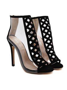 e8bd462e927e New Autumn Sexy PVC Transparent Gladiator Sandals Black Suede Cut Out  Hollow Stiletto Pumps Women High Heels Zipper Ankle Boots
