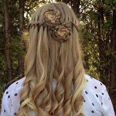 waterfall braid into flower braids