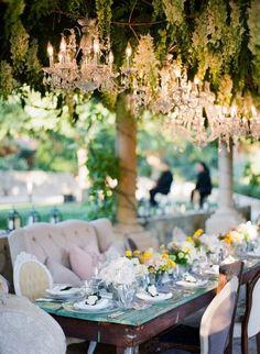 Vintage furniture in a wedding decoration