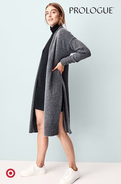 f877c6247f Pair a turtleneck dress with a split-side cardigan for a look that s  laidback but