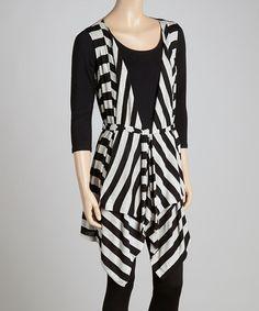 Look at this #zulilyfind! Black & Gray Stripe Tie-Front Vest #zulilyfinds