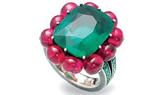 Fiona Druckenmiller's jewelry collection includes this emerald-and-ruby-bead ring by Hemmerle.