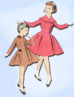 1950s Vintage Butterick Sewing Pattern 7911 Toddler Girls Flared Coat Size 2