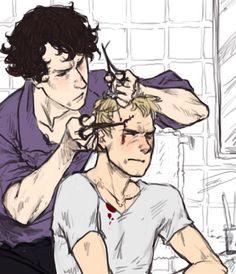 Не всегда же только Шерлок Холмс бывает в передрягах. Хотя обычно Джону достается именно из-за Холмса.  #Johnlock #Sherlock