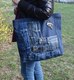 Denim Bag, Denim Tote, Denim Purse, Upcycled Denim Bag, Big Shoulder Bag, Recycled Shopping Bag, Boho bag by PrettyMarry on Etsy https://www.etsy.com/listing/469390924/denim-bag-denim-tote-denim-purse
