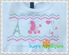 Baby Kay's Appliques - Poodle Eiffel Tower Faux Smock 4x4, 7x3, 7x5, $1.00 (http://www.babykaysappliques.com/poodle-eiffel-tower-faux-smock-4x4-7x3-7x5/)