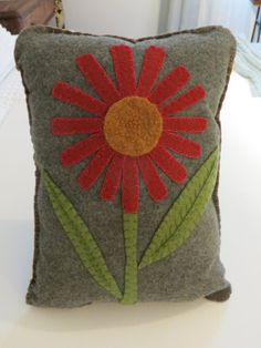 Felt Applique Pillow with Embroidered Flower