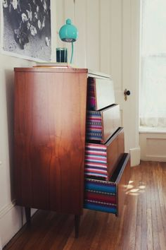 Fabric Lined Dresser Drawers, by A Beautiful Mess
