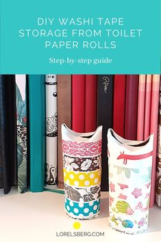 Washi Tape DIY Storage Toilet Paper Rolls. A step by step guide Diy Washi Tape Storage, Washi Tape Diy, Diy Storage, Bullet Journal Essentials, Decorative Tape, Paint Drying, Toilet Paper Roll, Used Parts, Diy Beauty