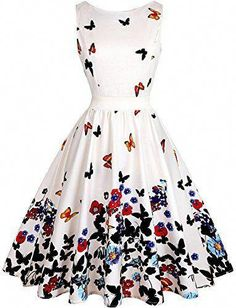 Vintage Dresses OWIN Women's Floral Vintage Swing Cocktail Party Dress with Butterfly Pattern Pretty Dresses, Sexy Dresses, Beautiful Dresses, Evening Dresses, Fashion Dresses, Midi Dresses, Vintage Tea Dress, Vintage Dresses, Vintage Floral