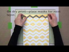 Video Tutorial: Gelli™ Printing: Patterns with Peel-Away Masks -- Create amazing patterns in your Gelli prints by printing layers with re-positionable, reusable, peel-away chevron masks! Watch this video and see how easy it is to print an intentional and complex layered pattern using peel-away masks from Hazel and Ruby!