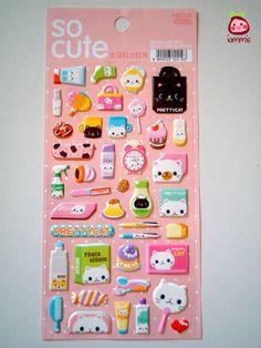 Cute Sticker, cat, kitten, kitty, Japan, Korea, girl, decoration, kawaii, pink, white, cake, little, tiny, card decoration, kid, children. $3,95 USD, via Etsy.