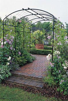 backyard project Easy all metal pergola Garden Archway, Pergola Garden, Garden Trellis, Garden Landscaping, Pergola Kits, Pergola Roof, Backyard, Back Gardens, Outdoor Gardens
