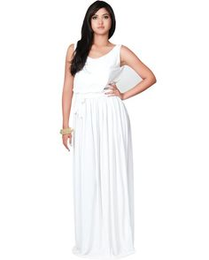 White maxi dress by Koh Koh. So versatile, and I love the low scoop back. Get the look at www.whitepartydressonline.com!