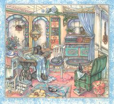 Kim Jacobs Art | The Sewing Room - Watercolor - Image area without wide border- approx ...