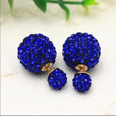 Royal Blue Fireball Double Side Earrings Fireball posts go through earlobe and connect to marble-sized backs. Largest portions are the backs of earrings that are worn behind the earlobe. For pierced ears. Earring backs may seem bigger than expected if unaccustomed to double side earrings. Brand new in package. No trades, no holding, no PP. PRICES ARE FIRM! - *2 pair $15. 3 pair $23. 4 pair $29. *Applies to $9 earrings only. Jewelry Earrings