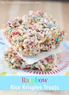 Bright and fun rainbow Rice Krispies treats recipe.  Perfect for childrens parties!
