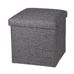 NISUNS OT01 Linen Folding Storage Ottoman Cube Footrest Seat, 12 X 12 X 12 Inches (Linen Gray) NISUNS Cube Organizer, Cube Storage, Grey Furniture, Furniture Design, Muji Pens, Long Car Rides, Makeup Mirror With Lights, Best Pens, College Dorm Rooms