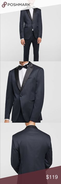 bb400045 NWT Zara MAN Navy Two Tone Tuxedo Blazer Jacket Men's navy tuxedo jacket  with dark satin