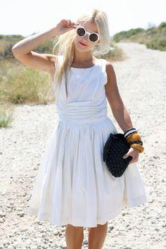 VTG 50s White Dress w/ Gathered Waist & Full Skirt S/M. $56.00, via Etsy.