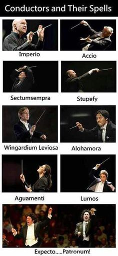 Conductors and their appropriate harry potter spells