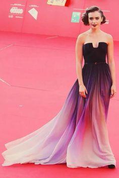 Long purple , degrade dress.