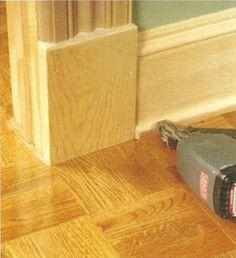 Plinth block with shoe molding. To fix (hide) gap between door and molding.