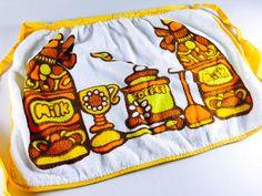 Vintage Kitchen Apron Retro Terry Cloth Yellow by LivingAVntgLife