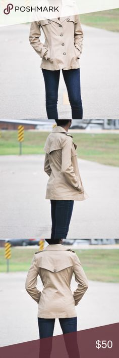 BB Dakota tan colored winter trench coat Would make the perfect trench coat.size small.in great condition .two front pockets 100% cotton BB Dakota Jackets & Coats Trench Coats