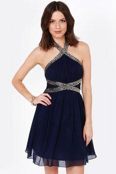 Little Mistress Hem and Awe Navy Blue Sequin Dress