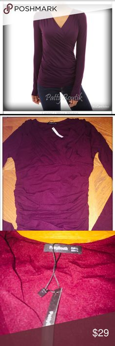 New Burgundy color Top Sexy long sleeve light weight Top, perfect for spring weather. PattyBoutik Tops Tees - Long Sleeve