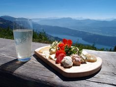 Cheese platter at the Alexanderhütte high over Millstatt Lake, Austria Carinthia, Germania, Austria Travel, Cheese Platters, Passion, Dining, Heart, Ethnic Recipes, Table