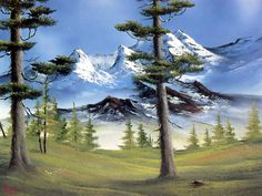 Free Art wallpaper - Landscape Painting Episode 2 wallpaper - wallpaper - Index 17 Bob Ross Landscape, Bob Ross Art, Bob Ross Paintings, The Joy Of Painting, Mountain Paintings, Painting Gallery, Online Painting, Mountain Landscape, Pictures To Paint