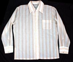 Rare 60's Vintage Ross Sutherland LARGE White LACE TWO TONE L/S Hawaiian Shirt #RossSutherland #Hawaiian